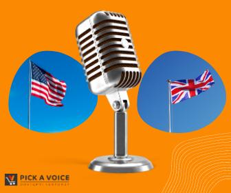 Mikrofon w banku głosów dla lektorów angielskich i brytyjskich